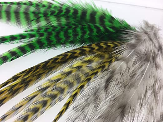 30 Pcs 3 Colors Black Barred Natural Grizzly Rooster Hackle Feathers Fly Tying