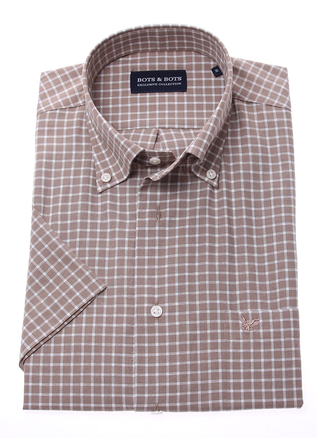 Bots & Bots 178617 Camisa para Hombre - Manga Corta - 70% Cotton / 30% Lino - Button Down - Normal Fit