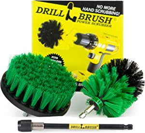Drill Brush - Kitchen Accessories - Spin Brush Kit with Extension - Grout Cleaner - Mold Remover - Calcium - Rust - Hard Water - Dishes, Pots and Pans, Stove, Oven, Sink, Flooring, Tile, Porcelain