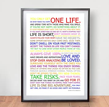 LIFE MANIFESTO POSTER   In Colour   Motivational Quote Wall Art Picture  Print   Size A2