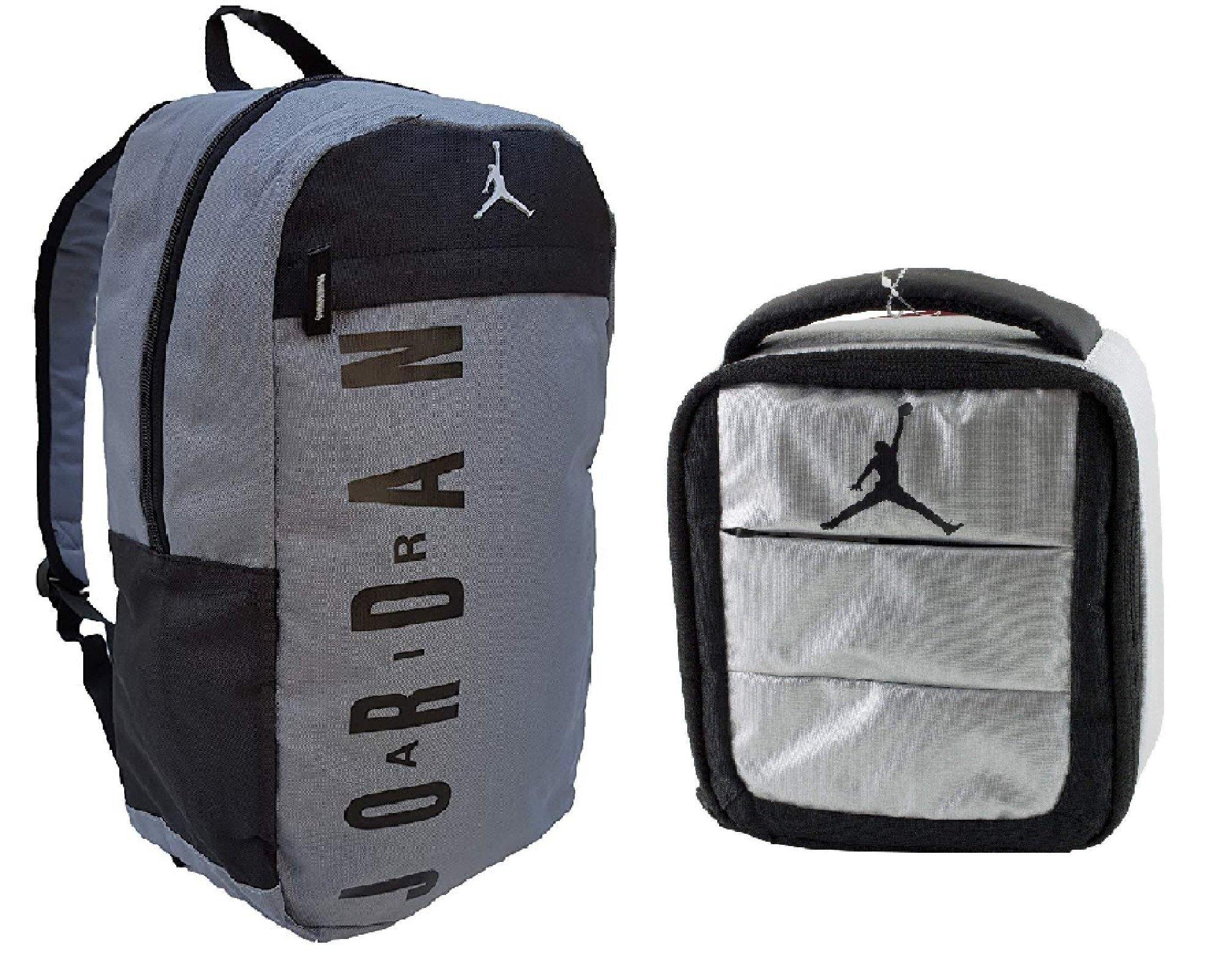 NIKE Air Jordan Jumpman Kids Backpack & Insulated Lunch Tote Set Cool Grey/Siver
