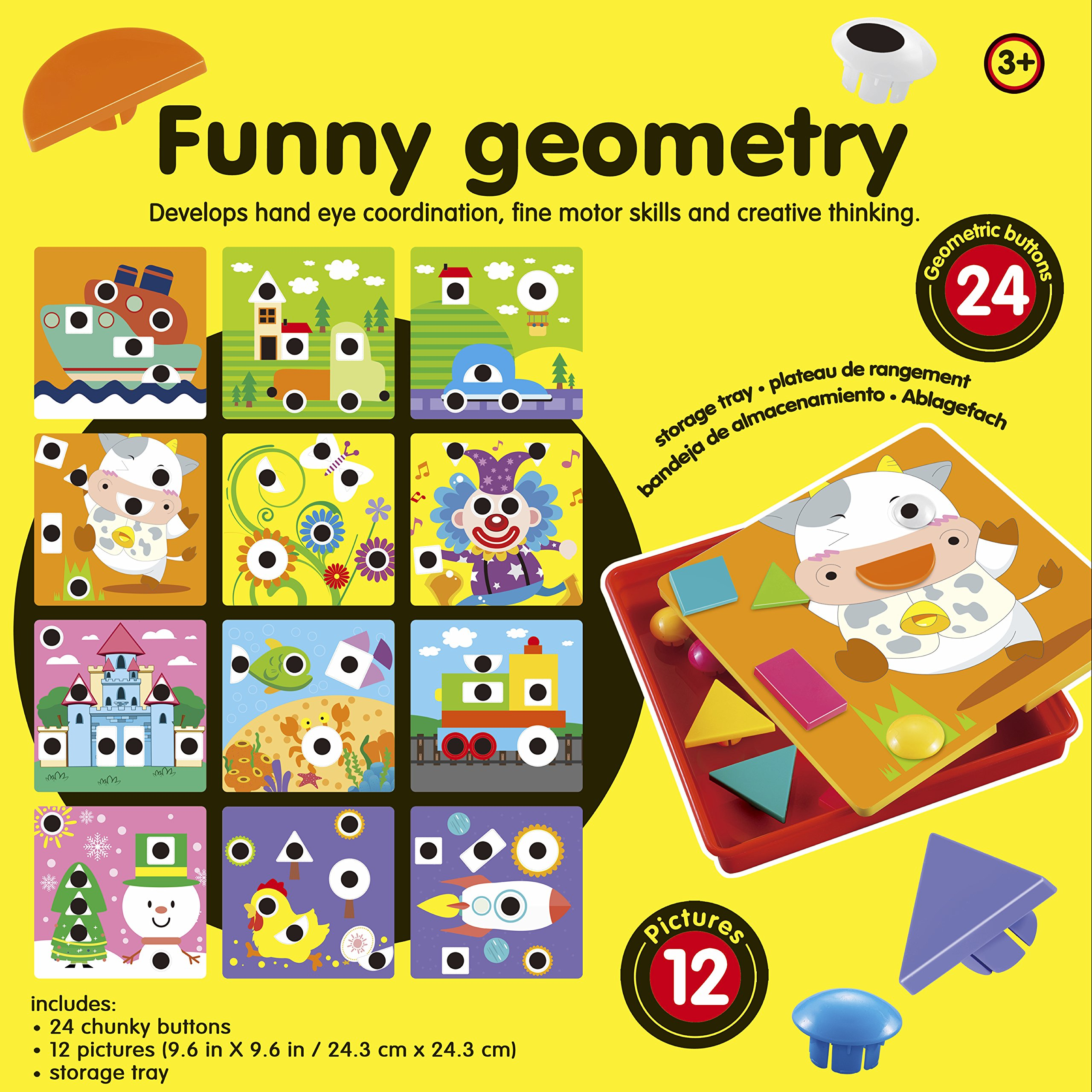 2018 Upgraded Button Art Color and Shape Matching Pegboard Puzzle Games with 12 Templates, Pre-school Geometry Set, Creative Toys, Early Educational Toys, Best gift for Boys and Girls 3 years and up