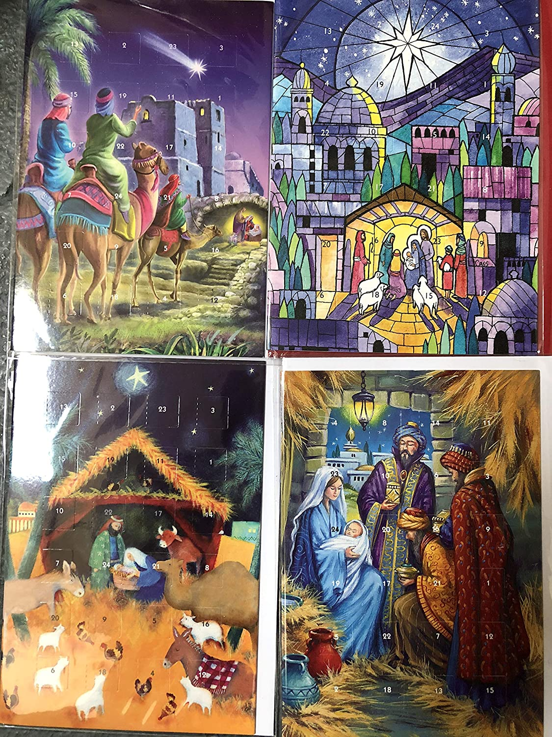 4 Mini Advent Calendar Cards Religious Designs (4 Designs) 16.5 x 14 cm with red or White Envelope … Caltime