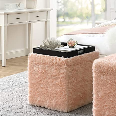 Excellent Inspired Home Blush Fur Ottoman Design Lily Storage Space Cube Shaped Hidden Tray Top Modern Design Unemploymentrelief Wooden Chair Designs For Living Room Unemploymentrelieforg