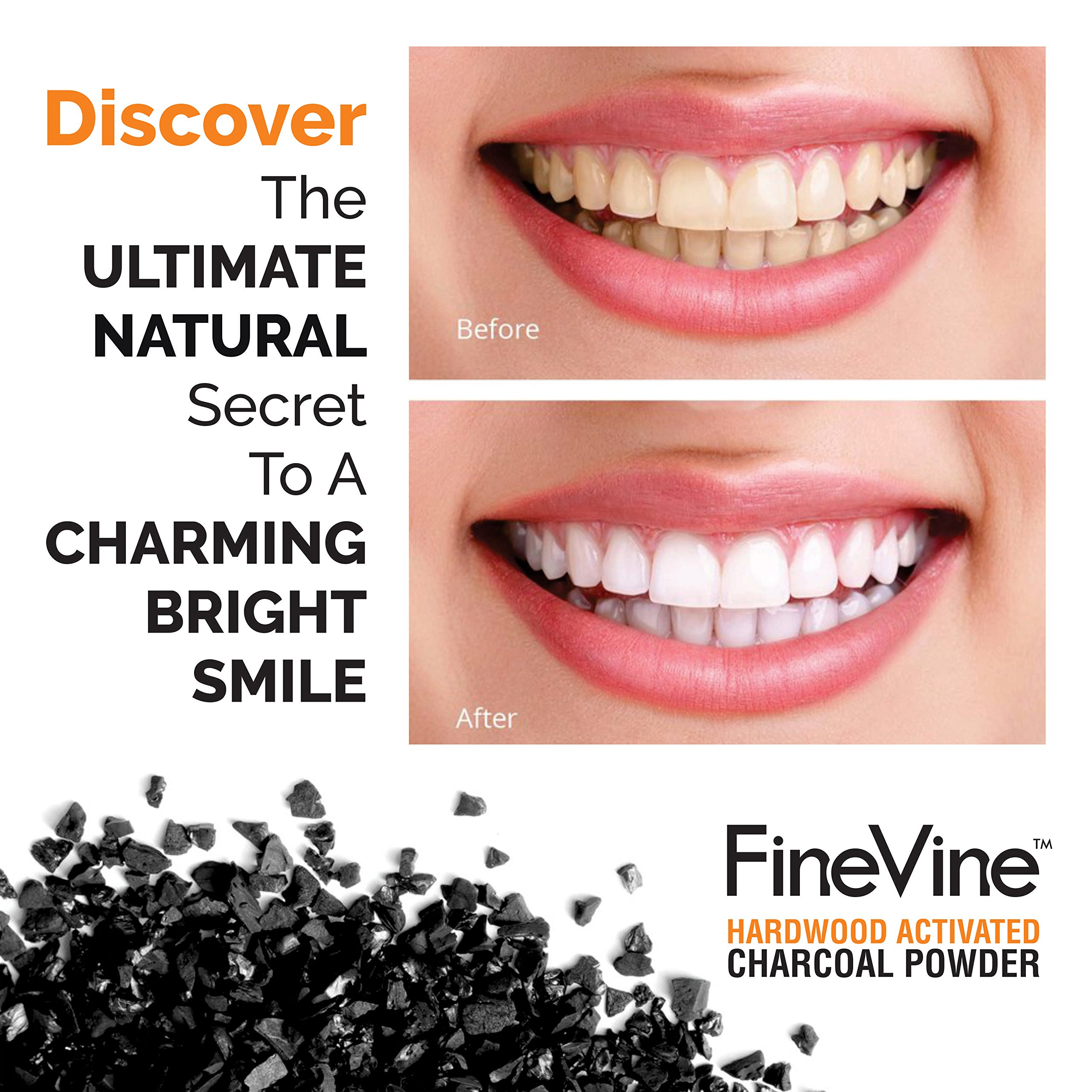 Activated Hardwood Charcoal Powder - Made in USA - Food Grade for Detox, Teeth whitening, Face Mask, Helps Digestion, Bug Bites, Treats Poisoning and Wounds. by FineVine (Image #4)
