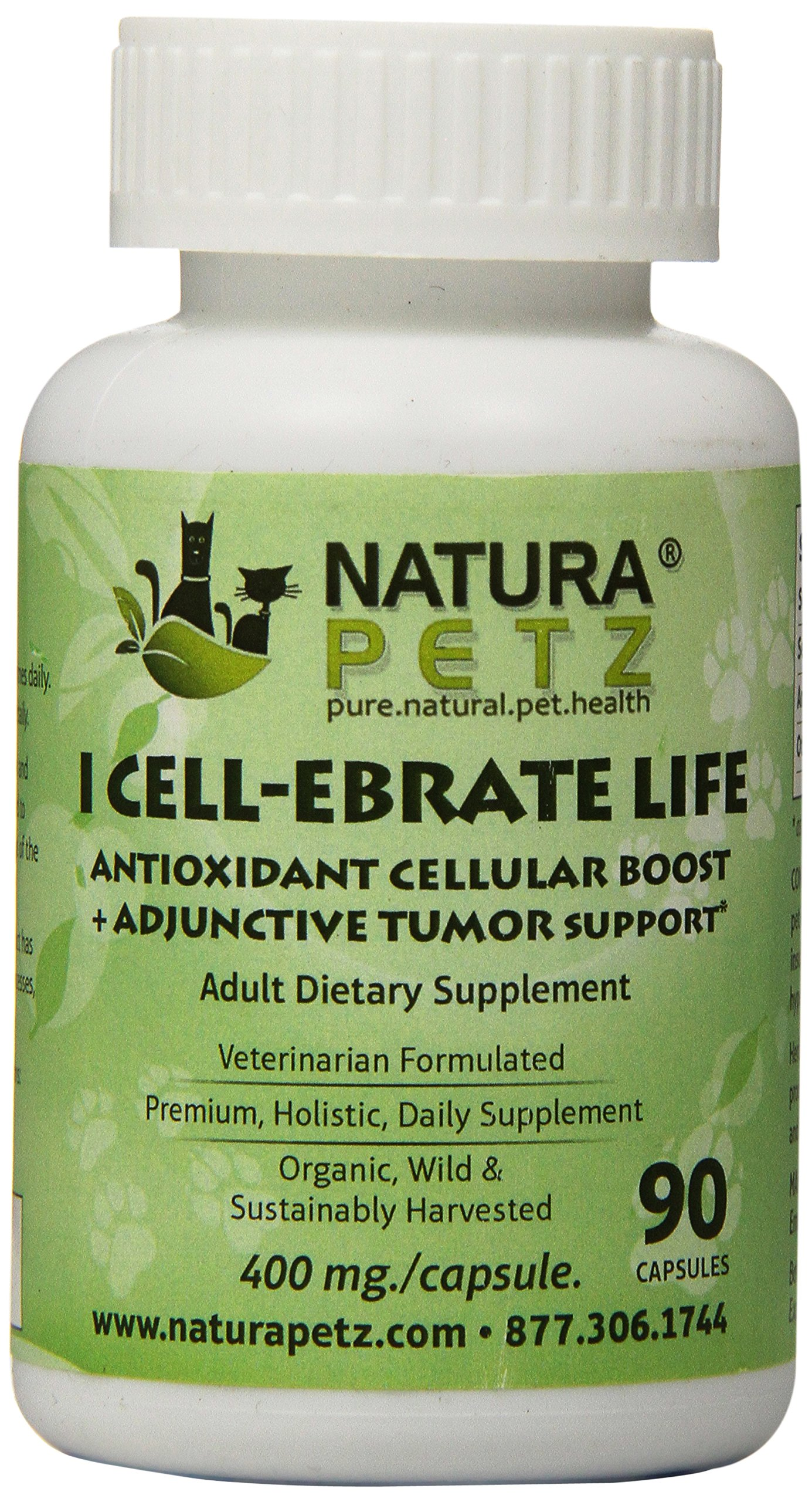 Natura Petz I Cell-Ebrate Life Antioxidant Cellular Boost, Adjunctive Tumor Support for Adult Pets, 90 Capsules, 400mg Per Capsule by Natura Petz