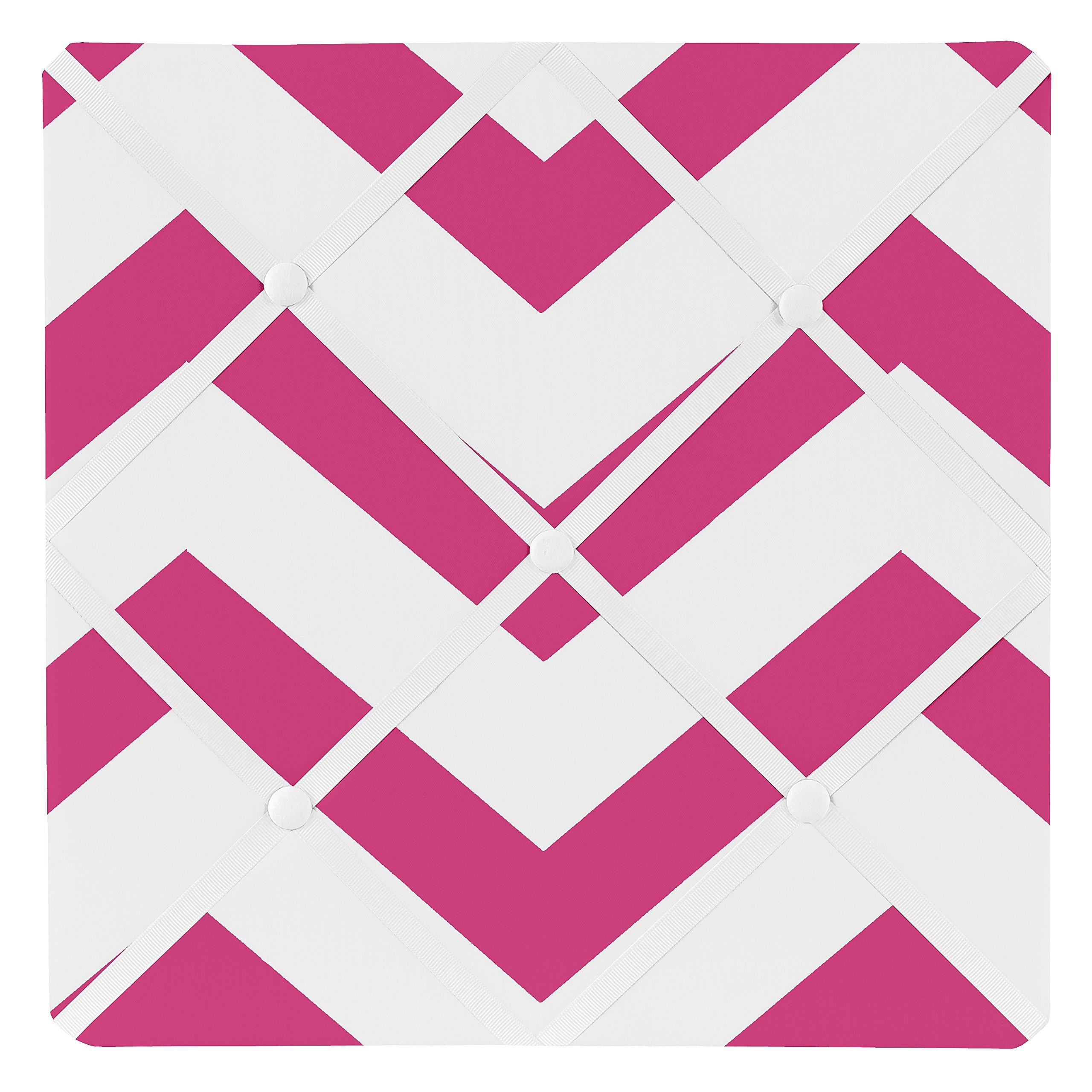 Sweet Jojo Designs Hot Pink and White Chevron Zig Zag Fabric Memory/Memo Photo Bulletin Board
