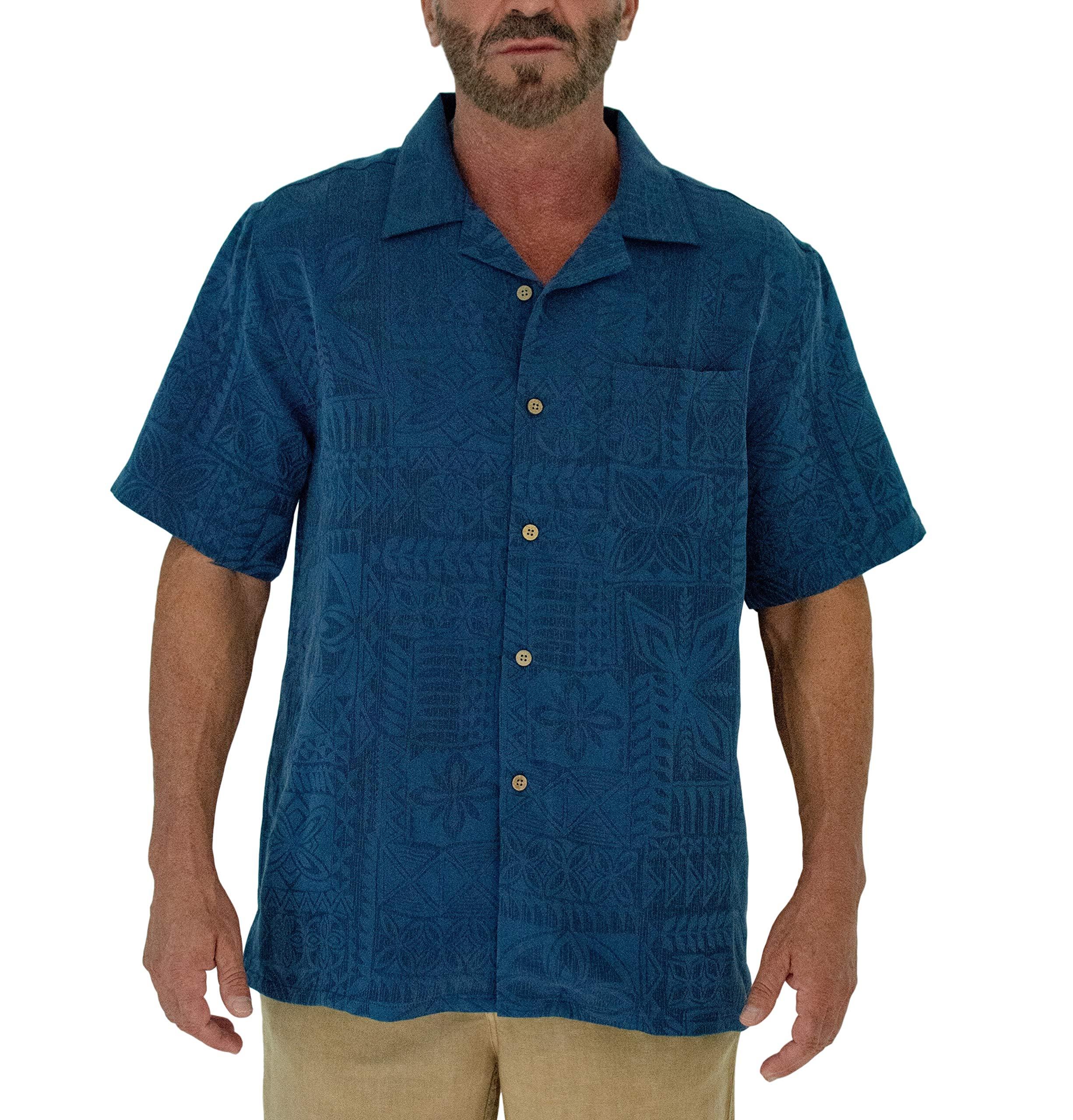 Short Fin Button Down Premium Textured Modal Shirt (2X 8047 Navy)
