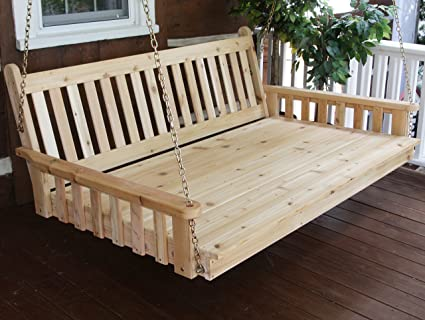 Amazon.com  BEST HANGING PORCH SWING BED SWINGBED 6u0027 Cedar Swinging Daybed For Relaxing Moments Fun 3 Person Seating For Patio Porches Pergola Furniture ... & Amazon.com : BEST HANGING PORCH SWING BED SWINGBED 6u0027 Cedar ...