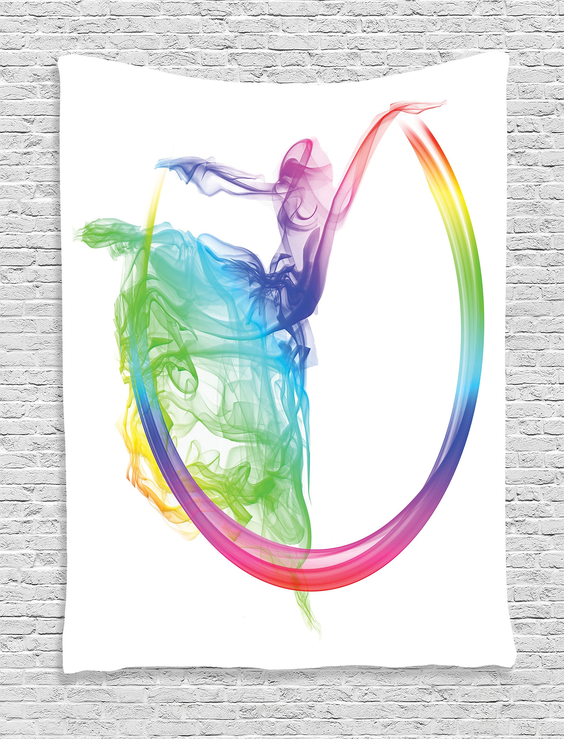 Ambesonne Abstract Home Decor Collection, Smoke Dance Shape Silhouette of Dancer Ballerina Rainbow Colors Fantasy Image, Bedroom Living Room Dorm Wall Hanging Tapestry, Blue Aqua Yellow