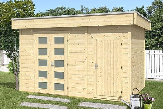 Skan Holz Cabaña Madera tejado Plano hogar, Venlo 3, 28 mm, sin Tratar Casas de jardín, Natural, 250 x 380 x 255 cm: Amazon.es: Jardín