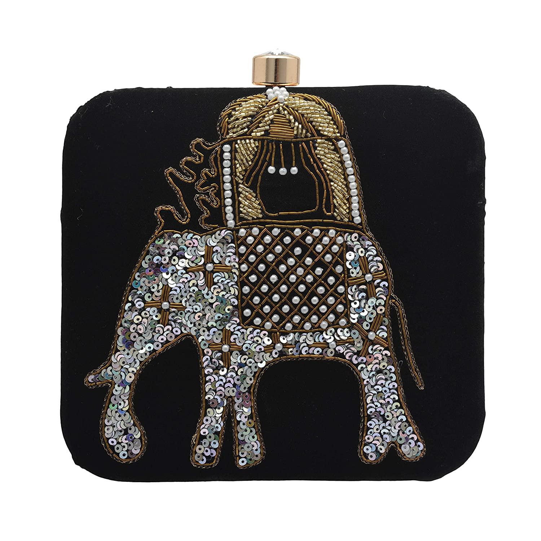 Zephyrr Clutch Black Women Party Wear Silver Elephant Design Detachable Sling BAG-590