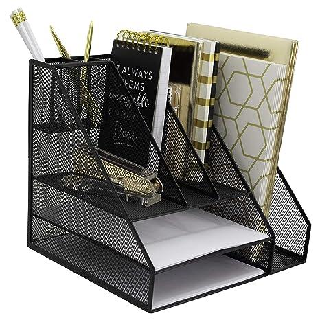 Blu Monaco Office Supplies Desk Organizers And Accessories Large Black Wire  Steel Mesh 2