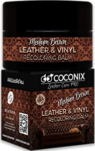 Coconix Leather Recoloring Balm Medium Brown with Applicator - Recolor, Renew, Repair & Restore Aged, Faded, Cracked, Peeling and Scuffed Leather & Vinyl Couches, Boat or Car Seats, Furniture 8 oz