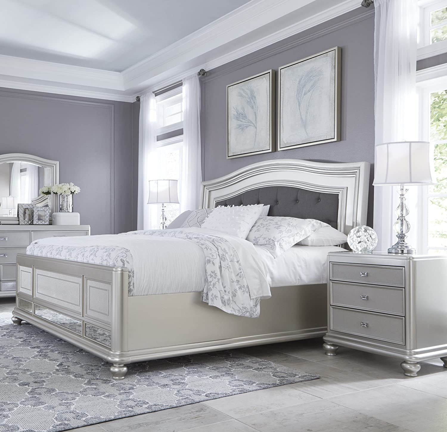 Amazon.com: Coralayna Traditional Silver Bedroom Set with ...