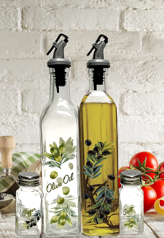 Circleware Picholine Dual Glass Olive Oil and Vinegar Beverage Dispenser Bottles Pourer Spouts & Matching Salt and Pepper Shakers, 4pc Home & Kitchen Decor Glassware Set, 17oz, 17 oz, Clear
