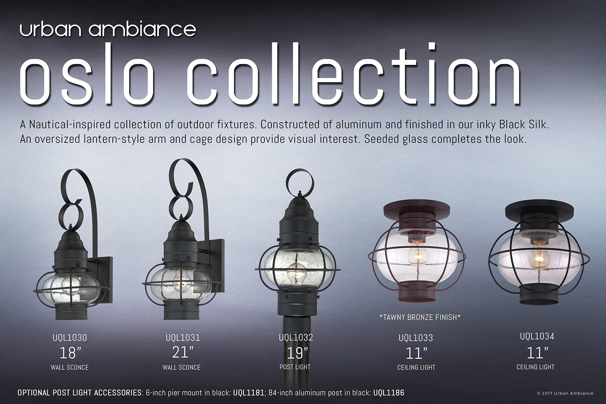 Luxury Nautical Outdoor Ceiling Light, Small Size: 10.5''H x 11.5''W, with Art Deco Style Elements, Cage Design, Bold Tawny Bronze Finish and Seeded Glass, UQL1033 by Urban Ambiance by Urban Ambiance (Image #6)