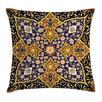 Ambesonne Arabian Throw Pillow Cushion Cover, Arabic Floral Mosaic Patterns South Eastern Antique Oriental Ottoman Artwork Print, Decorative Square ...