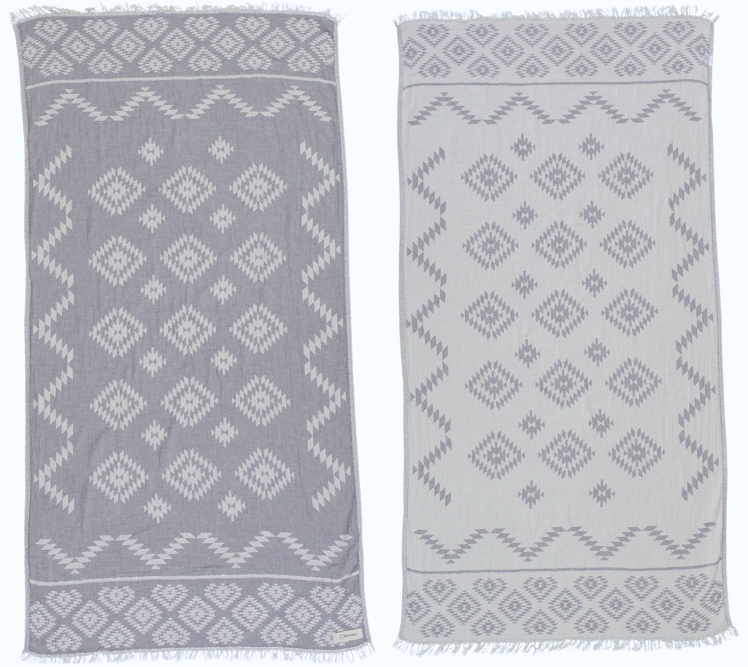 Bersuse 100% Cotton - Teotihuacan Turkish Towel - Bath Beach Fouta Peshtemal - Aztec Navajo Bohemian - Dual-Layer Handloom Pestemal - 39X71 Inches, Silver Grey (Set of 6)