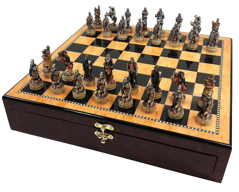 超美品の SKELETON Set SLAYER GOTHIC FANTASY Color SKULL High Chess Set W/ 17 1/4