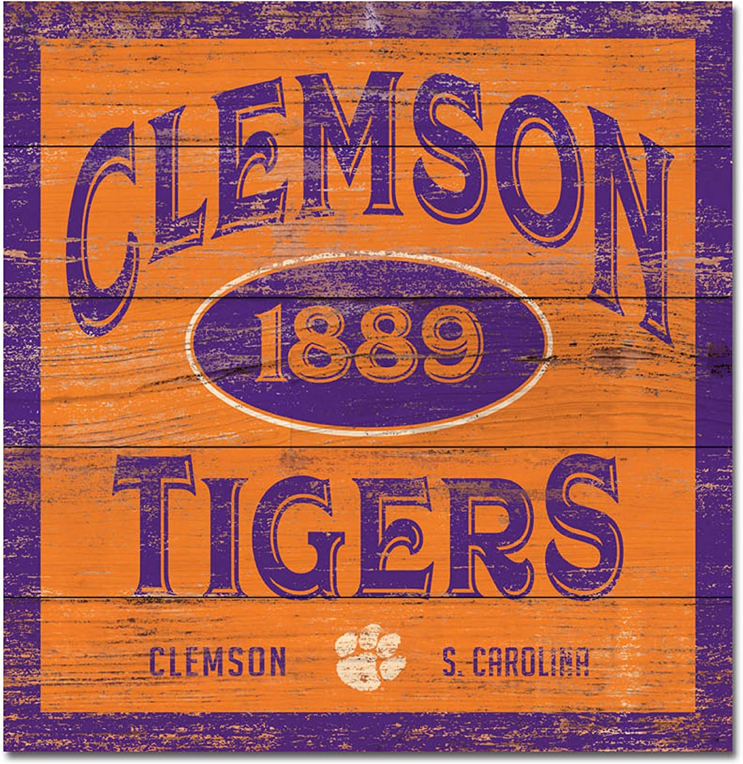 One Size Wood NCAA Fan Shop Clemson Tigers Legacy Wood Plank Square 17x17