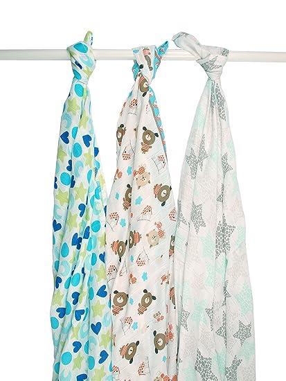 Ti TIN Pack 3 Muselinas Estampadas para Bebé de Bambú/Estampado de Estrellas Figuras y