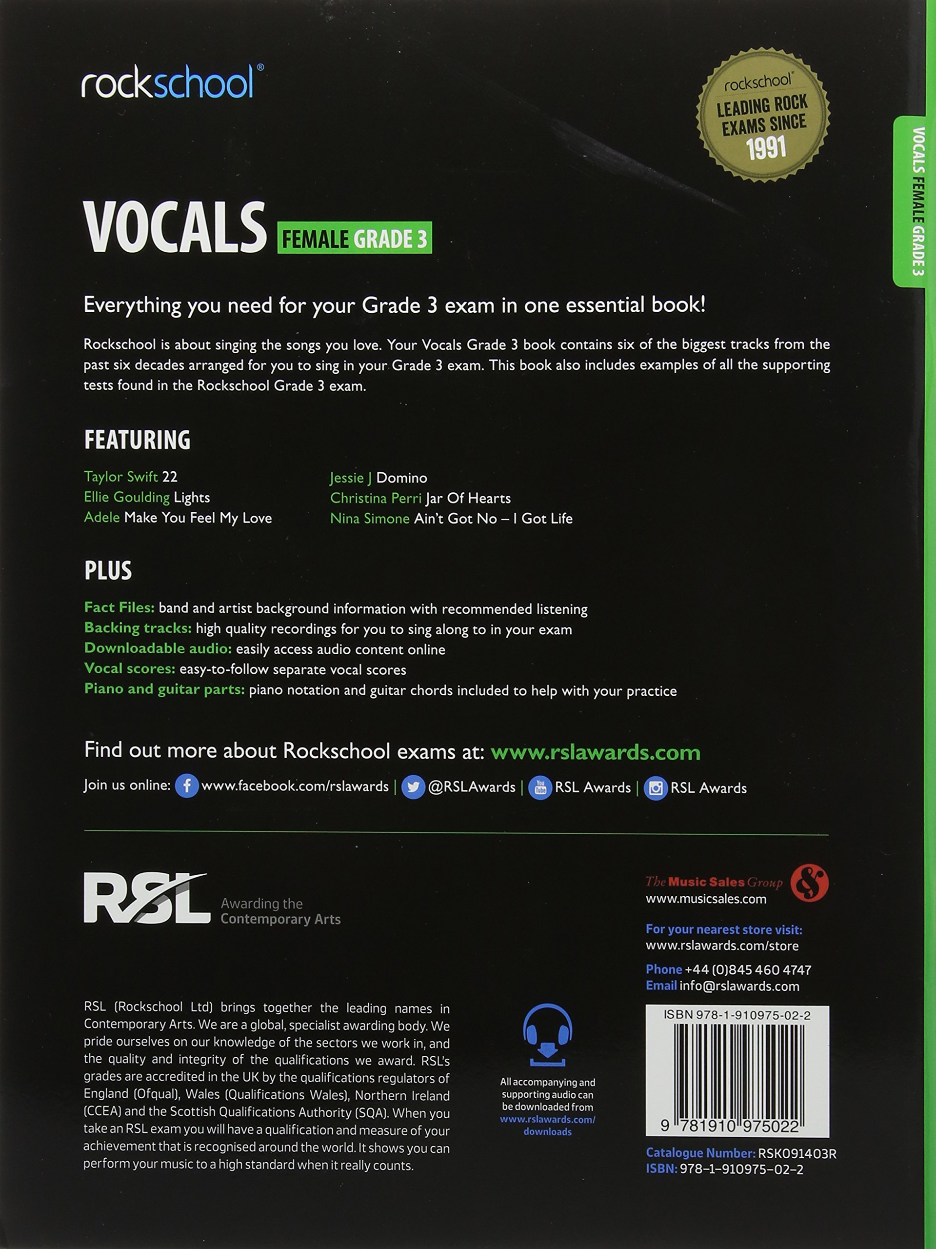 Rockschool Vocals Grade 3 Female Bookonline Audio