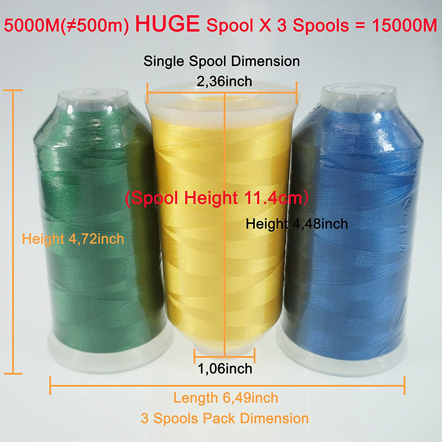 24 Options 3xWHITE Various Assorted Color Packs of Polyester Embroidery Machine Thread Huge Spool 5000M for All Embroidery Machines New brothreads