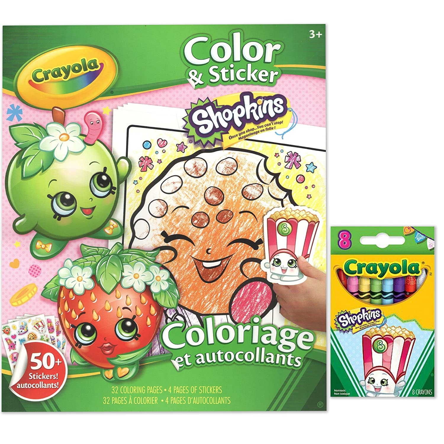 Shopkins 50 Stickers, 32 Coloring Pages and 8 Poppy Corn Crayola ...