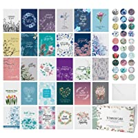Dessie 30 Unique Sympathy Cards With Greetings Inside. 30 Different, Large Greeting Cards With Envelopes and Matching Sealing Stickers. Includes Sturdy Storage Box.