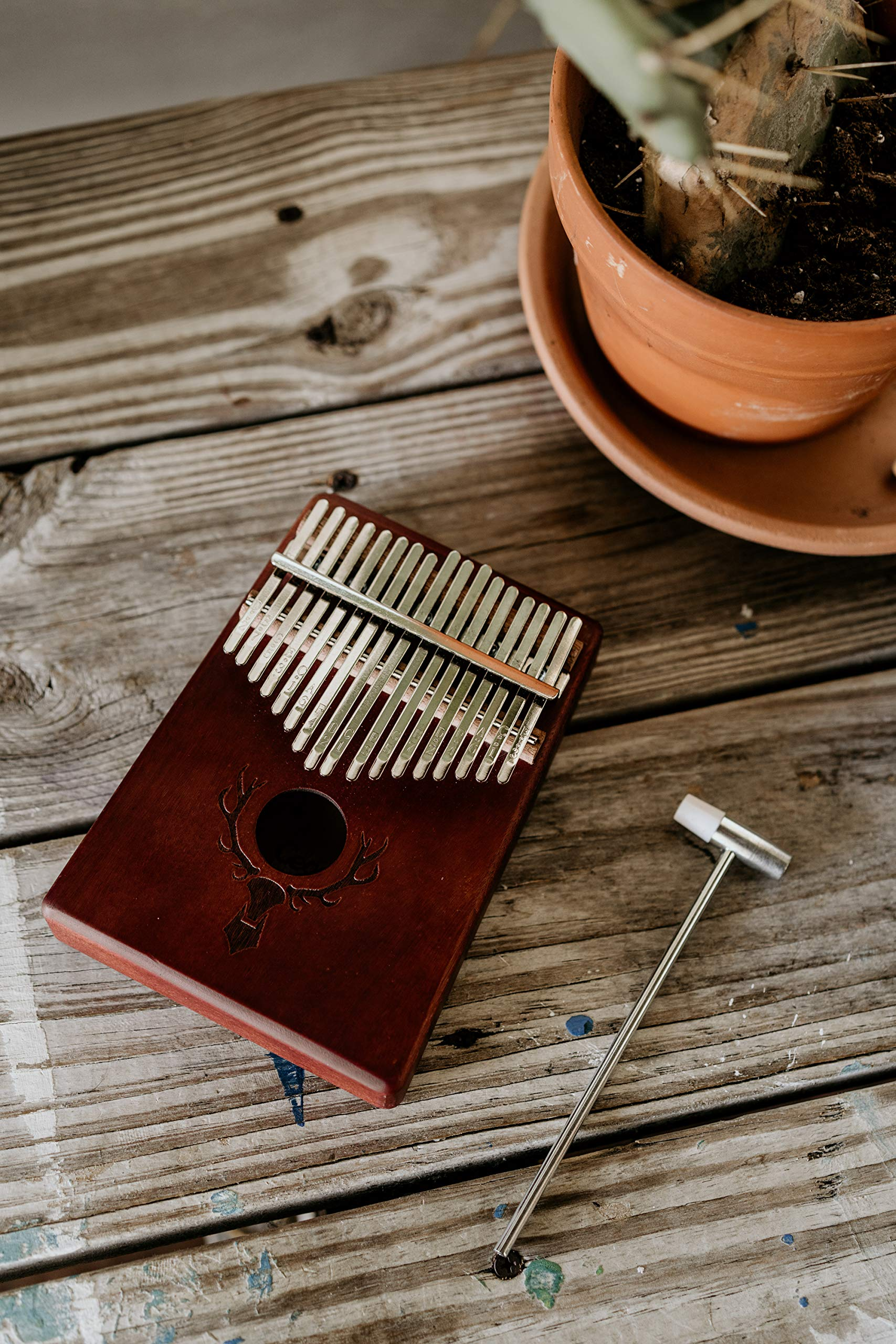 TimberTunes 17 Key Kalimba Thumb Finger Piano Therapy Musical Instrument for Adults Children, Solid Mahogany Wood, Engraved Elk Antler,Tuning Hammer and Music Book, Engraved Keys, Velvet Case, Unique by Timbertunes (Image #9)