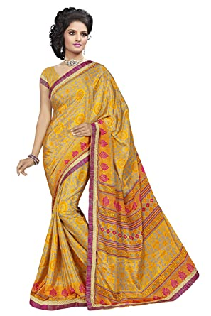 eca0a95142 FabFanda Fancy Printed With Shining Stone SILK Saree/Sari With Lace Border  And Unstitch Blouse: Amazon.in: Clothing & Accessories