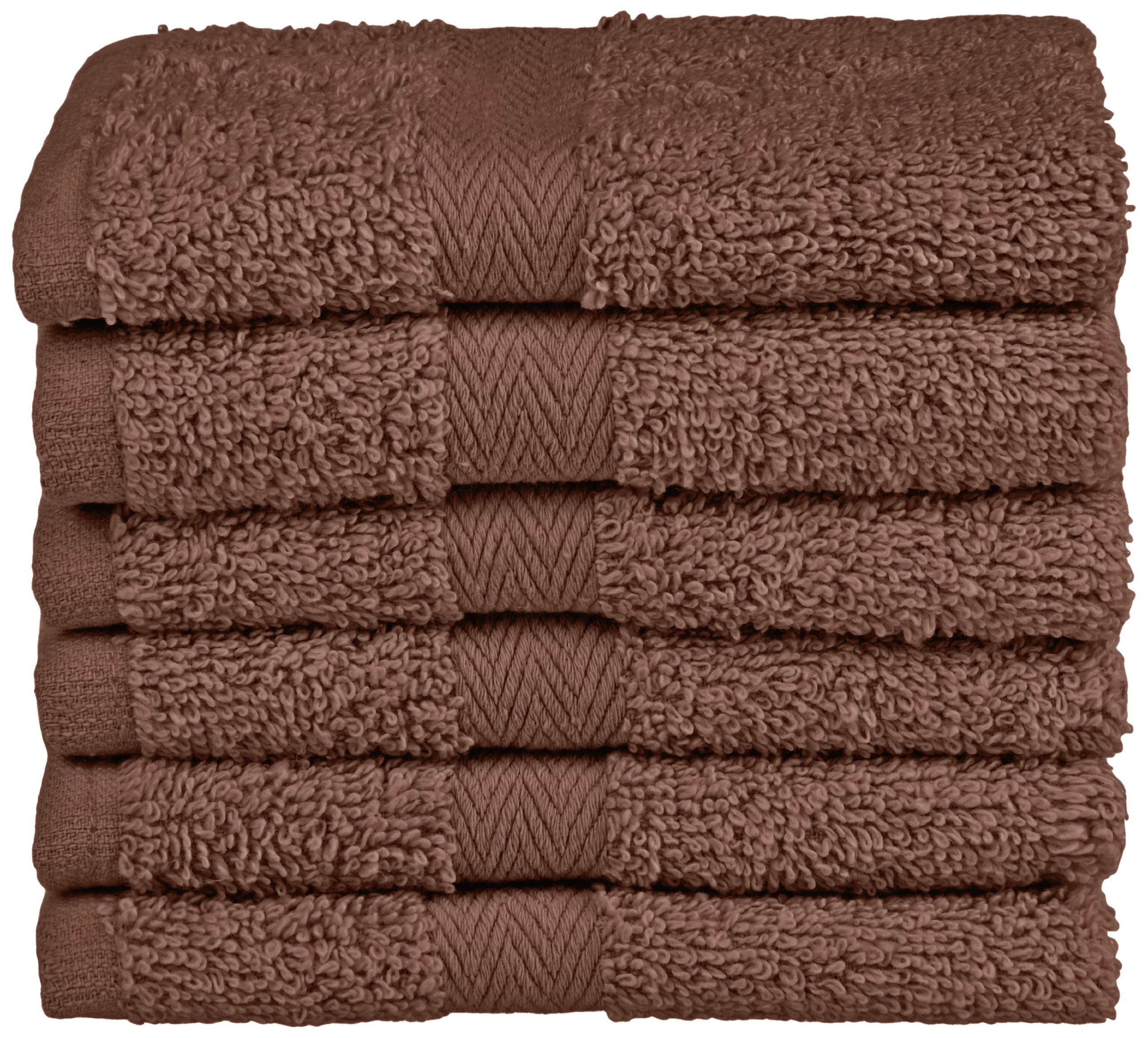 Northpoint Baroque Zero Twist Cotton Washcloths, 13 by 13-Inch, Cocoa, Set of 6