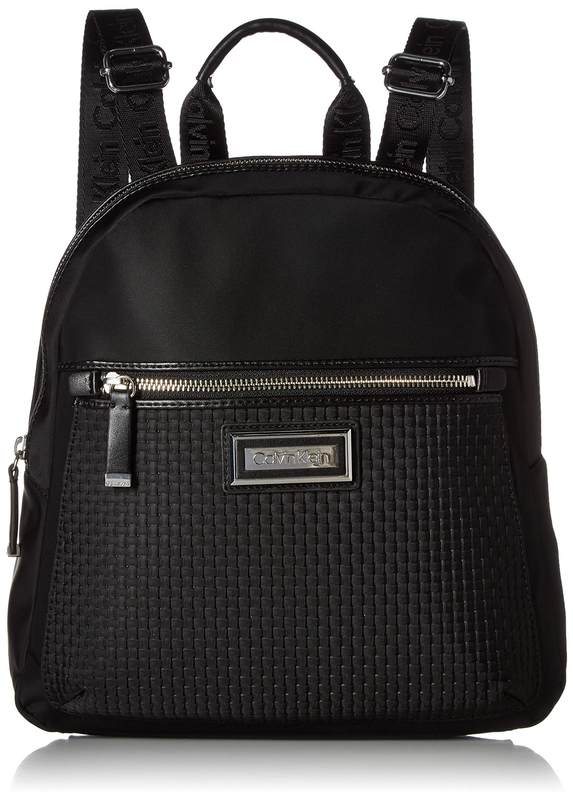 Calvin Klein Belfast Woven Nylon Novelty Key Item Backpack, black/silver, One Size
