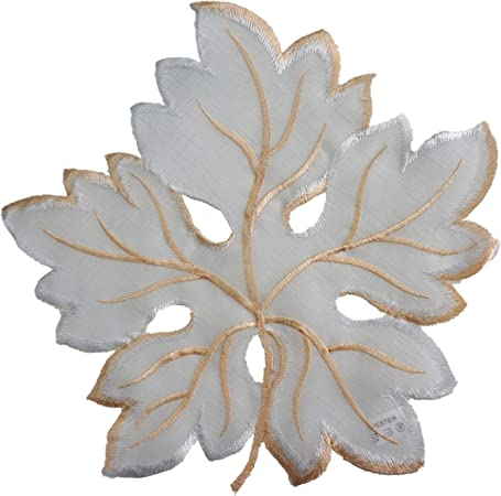 Amazon Com Granddeco Maple Leaves Placemats Set Of 4 Embroidered Maple Leaves Table Topper For Home Kitchen Dinning Room Spring Autumn Holiday Table Top Decoration Placemat 12 Set Of 4 White Home Kitchen