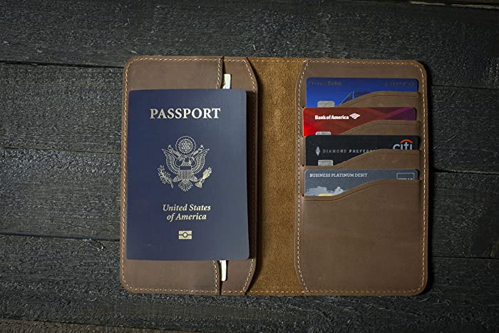 8be98af97 Amazon.com  Personalized Leather Passport Wallet