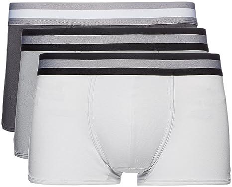 FIND Boxershorts Herren enganliegend Sportstreifen 3er-Pack, Grau (Mid  Grey/Light Grey