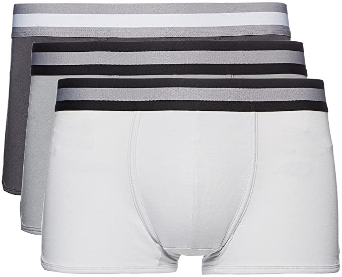 FIND Boxer Ajustado Hombre, Pack de 3, Grau (Mid Grey/Light Grey