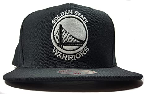 super popular edf85 a0886 Image Unavailable. Image not available for. Color  Mitchell   Ness Golden  State Warriors Black White HWC Current Solid Wool Adjustable Snapback Hat  NBA