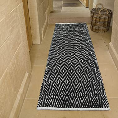 Chardin home 100% Cotton Diamond  Runner Rug Fully Reversible, Size -2'x5', Machine Washable, Black/White