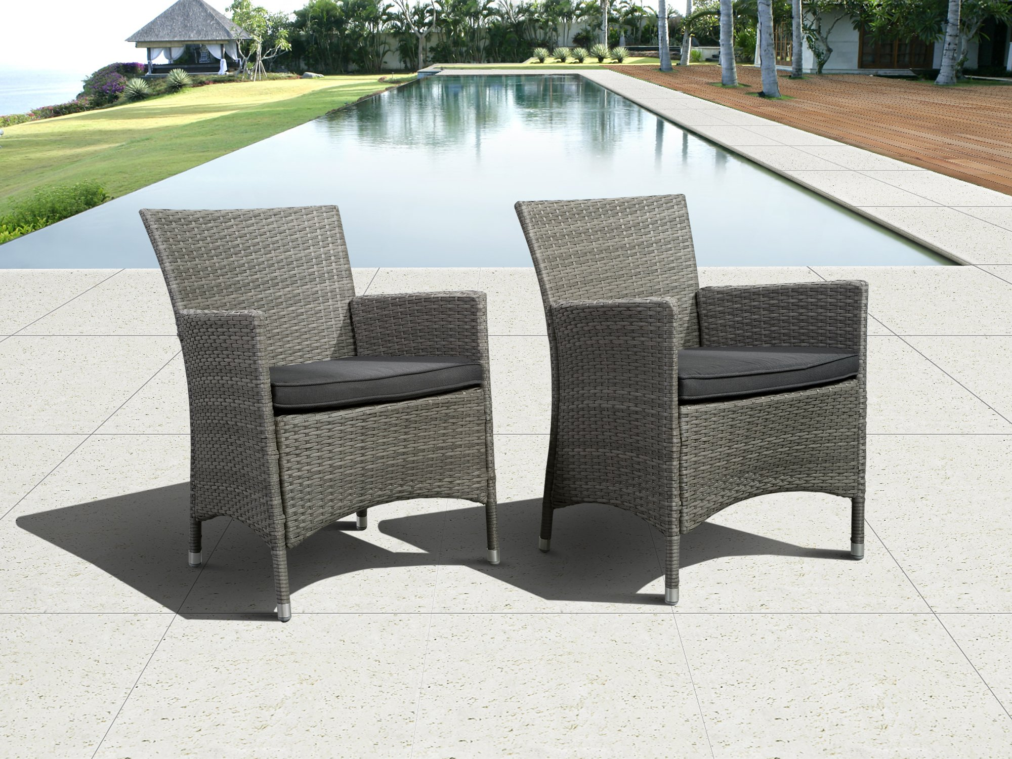 "Atlantic Liberty Deluxe Wicker Armchair, Grey, Set of 2 - Atlantic Lifestyle Collection 2 armchairs 23.5"" W x 24.5"" D x 35"" H w/ cushions. Seating Dimensions21Wx18.5Dx18.5H. High quality synthetic wicker construction. Its resistance to weather and UV radiation makes the set durable and enjoyable. - patio-furniture, patio-chairs, patio - 91pT3yui%2BGL -"