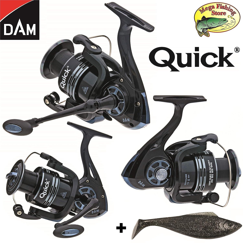 Metal, tama/ño de 2000 a 6000, Incluye Bobina de Repuesto y Amuleto de la Suerte Mega Fishing Dam Quick Fighter Pro Carrete de Pesca