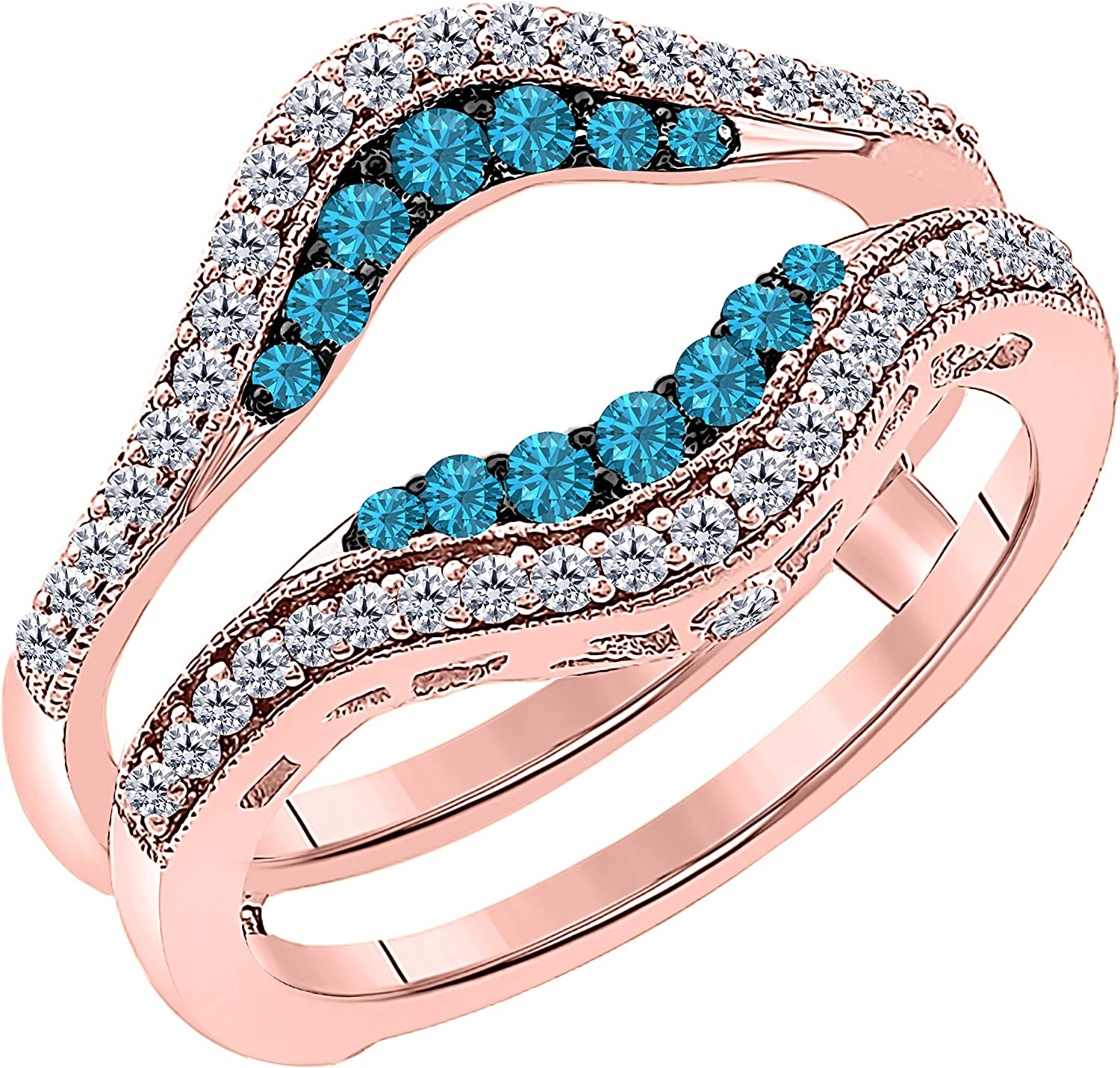 ctw CZ Blue Topaz /& Cubic Zirconia Round Wedding Band Solitaire Enhancer Guard Wrap Ring Womens 14k Rose Gold Plated Alloy Double Row Pave Set 0.50