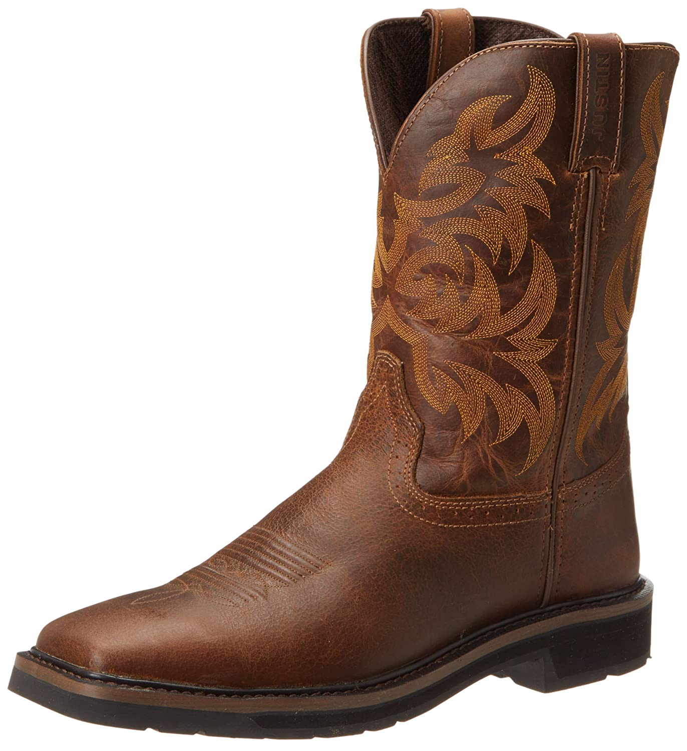 446da082cac Justin Original Work Boots Men's Stampede Pull-On Square Toe Work Boot