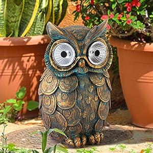 Gaidenly Outdoor Solar Garden Lights, Owl Garden Statue, Resin Figurine Garden Lawn Ornaments, Decorative Garden Lights For Lawn Patio Yard Pathway, Gardening Gifts For Women, Outdoor Party Decoration