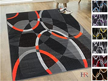 Hr Flurecent Orange Gray Silve Black Abstract Area Rug Modern Contemporary Oval Circle Design Pattern 5 X 7