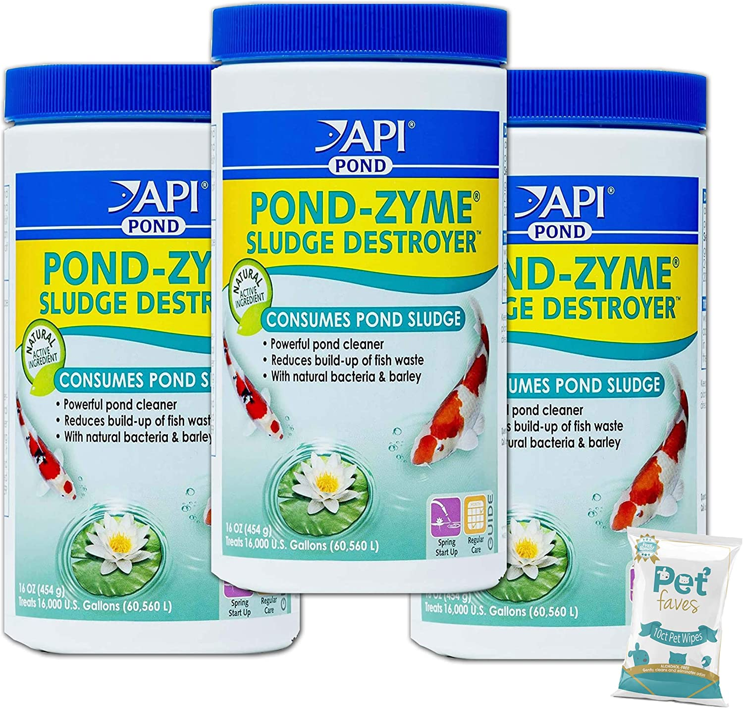 Pet Faves (3 Pack) API Pond-Zyme Sludge Destroyer Pond Cleaner with Natural Pond Bacteria & Barley (1Lb Each) with 10ct Wipes