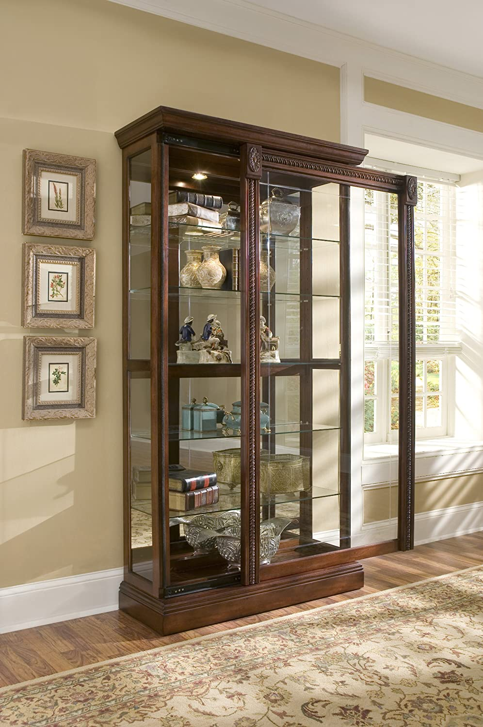 Amazon.com Pulaski Two Way Sliding Door Curio 43 by 17 by 80-Inch Medallion Cherry Finish Brown Kitchen u0026 Dining & Amazon.com: Pulaski Two Way Sliding Door Curio 43 by 17 by 80-Inch ...