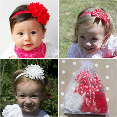 Flower Headbands Baby Headbands Kids Hair Accessories Flower Hair Bands  White Red Hairbands Girls Hair Accessories 46891ab6928