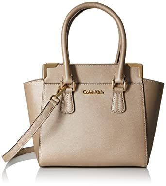 a650a34cd0fe Calvin Klein On My Corner Saffiano Leather Crossbody, Metallic Taupe:  Handbags: Amazon.com